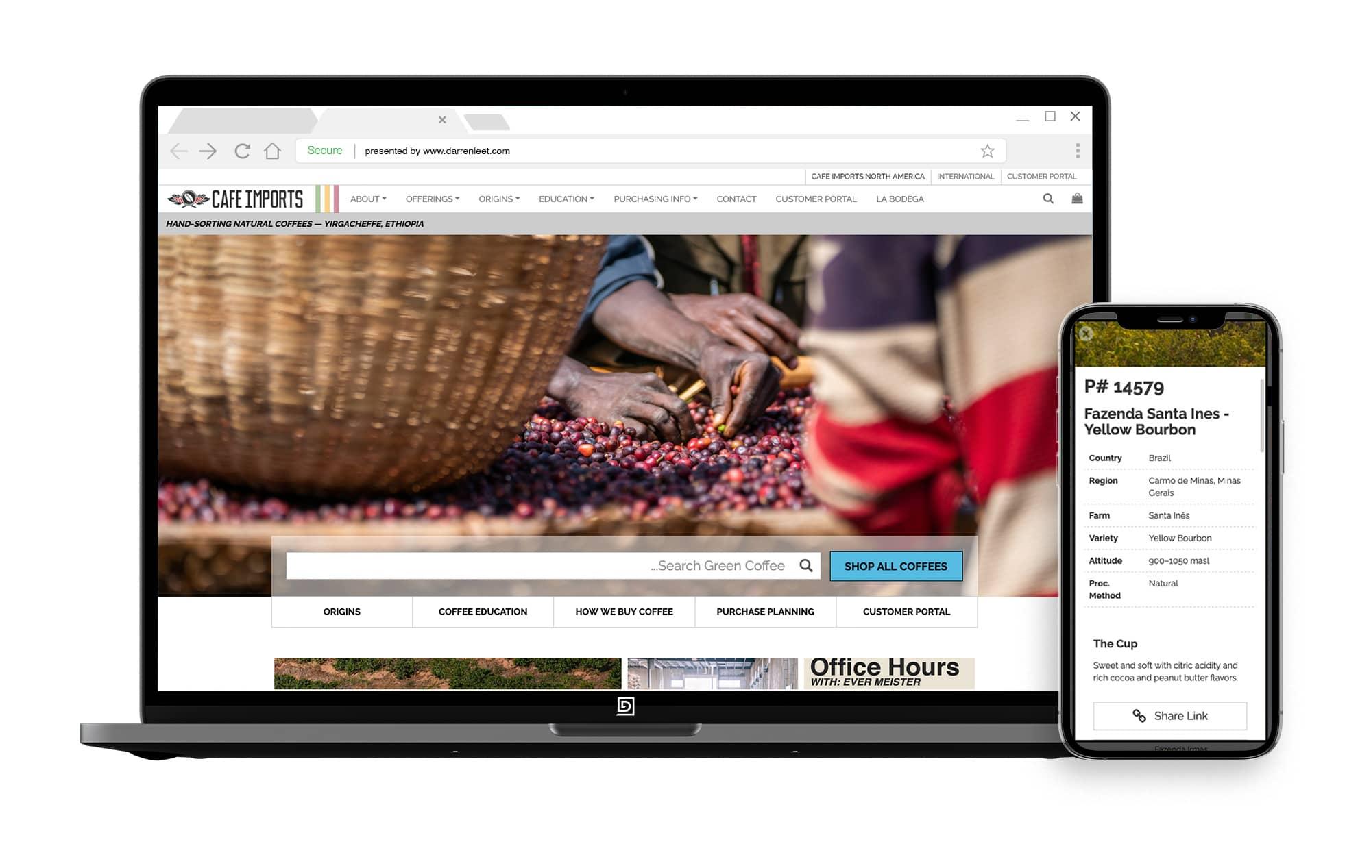 Coffee offerings application website